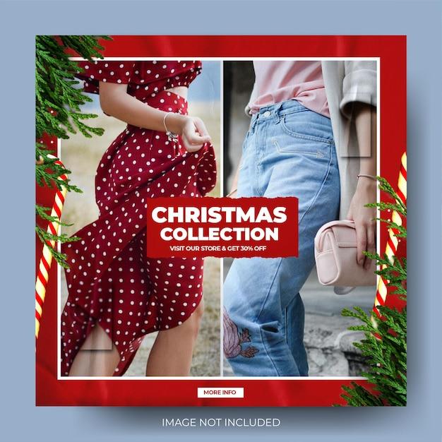 Flux de publication instagram de vente de mode de noël rouge dynamique