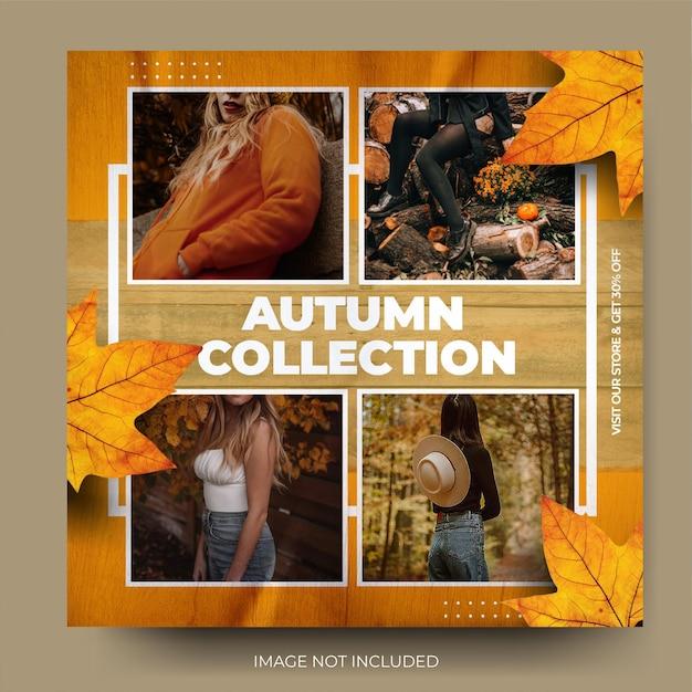 Flux de publication sur les médias sociaux de la collection de vente de mode d'automne moderne