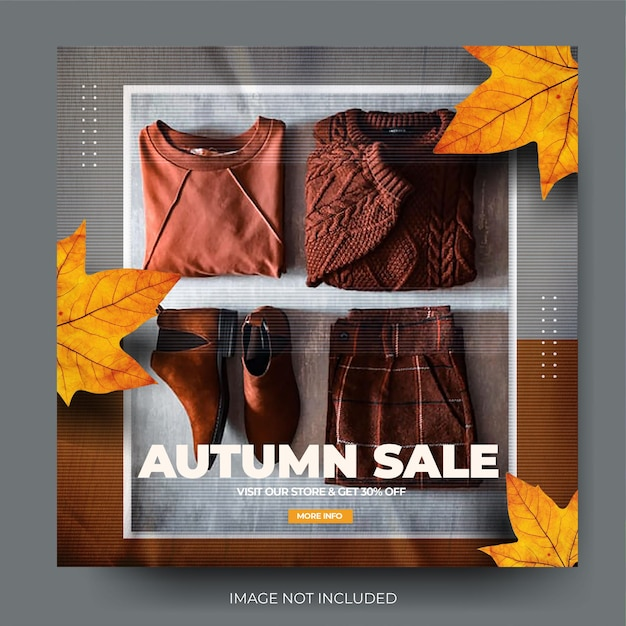 Flux de publication sur les médias sociaux instagram de la collection de vente de mode d'automne