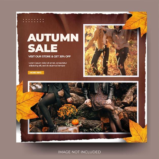 Flux de publication sur les médias sociaux instagram de vente de mode d'automne brune