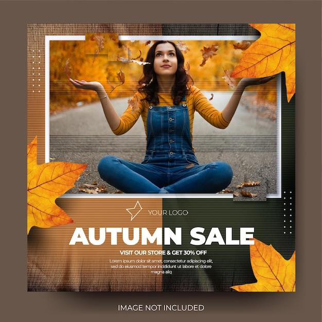 Flux de publication sur les médias sociaux instagram de vente de mode d'automne minimaliste