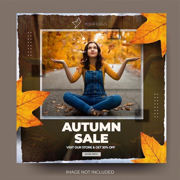 Flux de publication de médias sociaux instagram de vente de mode d'automne en papier déchiré moderne