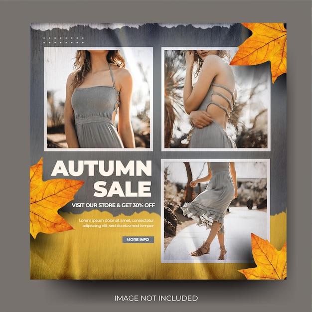 Flux de publication sur les médias sociaux instagram de vente de mode d'automne en papier froissé