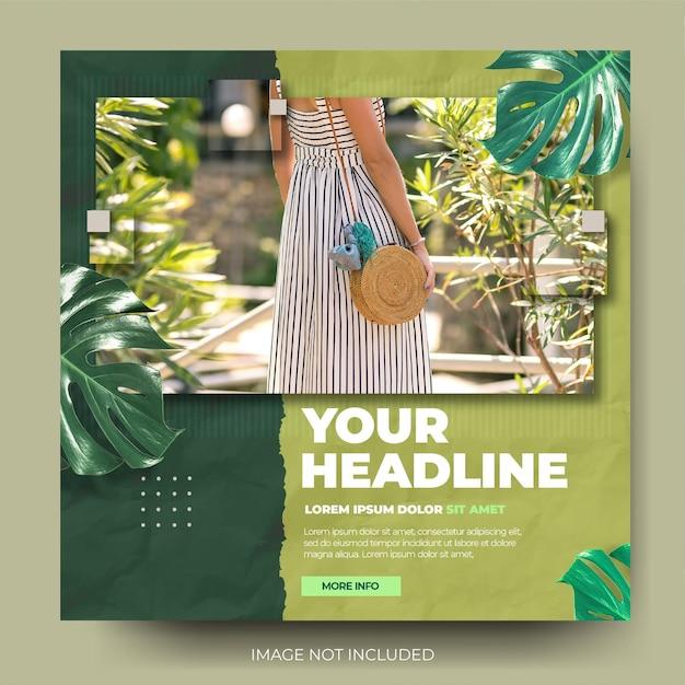 Flux de publication sur les médias sociaux instagram de vente de mode verte feuille