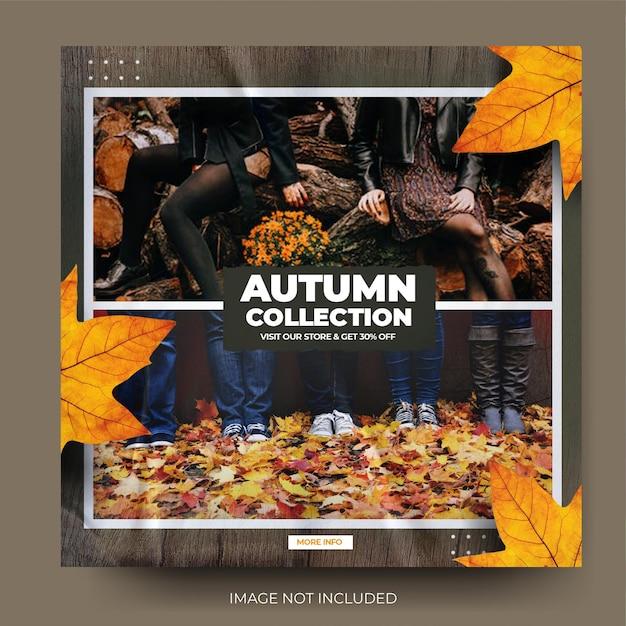 Flux de publication sur les réseaux sociaux instagram de la collection de mode d'automne