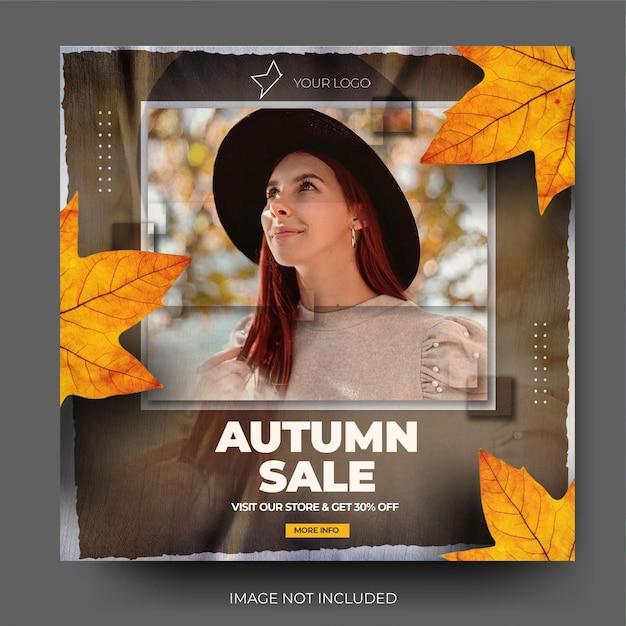 Flux de publication sur les réseaux sociaux instagram de vente d'automne