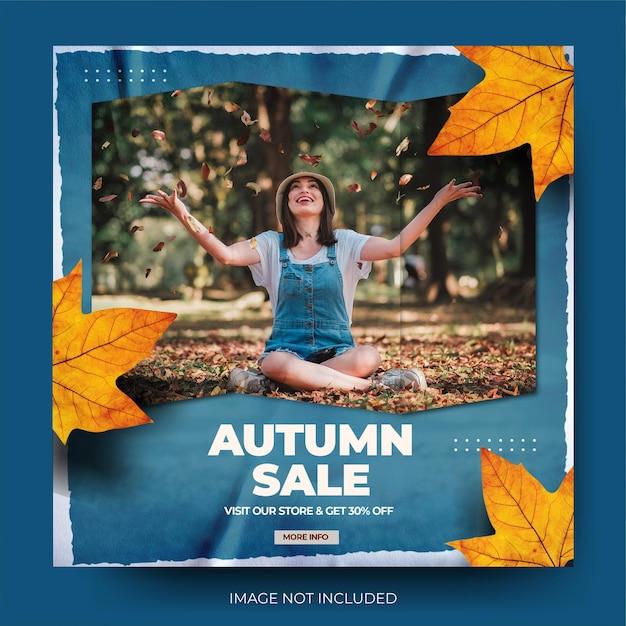 Flux de publication sur les réseaux sociaux instagram de vente de mode d'automne bleu