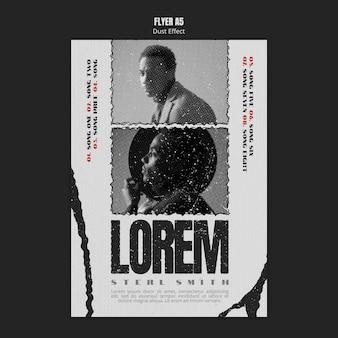 Flyer d'album de musique avec effet de poussière et photo