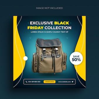 Flyer de bannière web de publication de médias sociaux de vente de vendredi noir et modèle de publication instagram