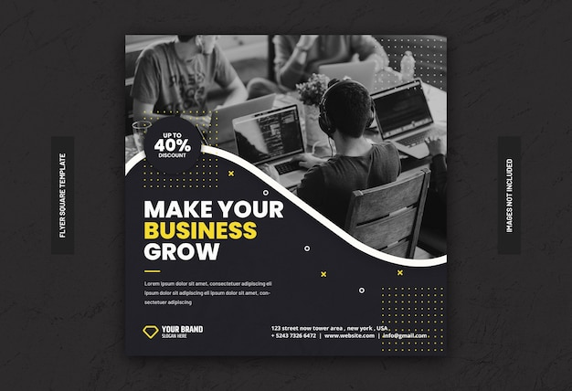 Flyer carré de bannière de médias sociaux marketing commercial numérique