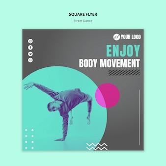 Flyer carré de concept de danse de rue