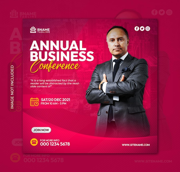 Flyer carré de la conférence d'affaires annuelle ou modèle de publication sur les réseaux sociaux instagram