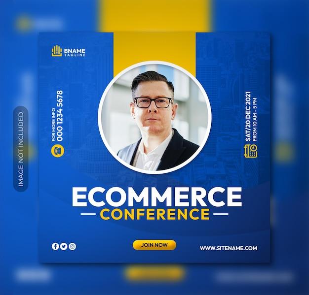 Flyer carré de conférence d'affaires de commerce électronique ou modèle de publication sur les médias sociaux instagram