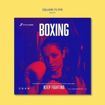 Flyer carré femme boxe