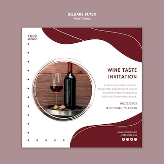 Flyer carré d'invitation au goût du vin