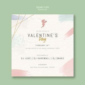 Flyer carré invitation de la saint-valentin