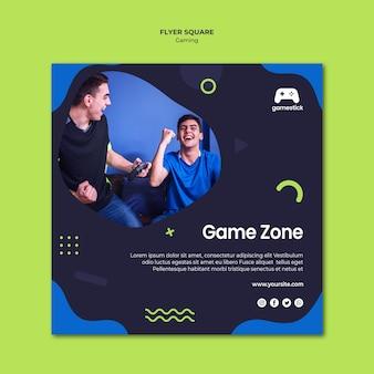 Flyer carré de jeu vidéo avec photo