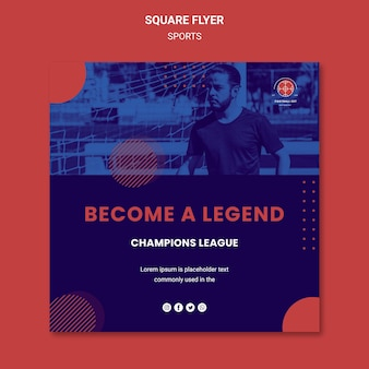 Flyer carré de joueur de football avec photo