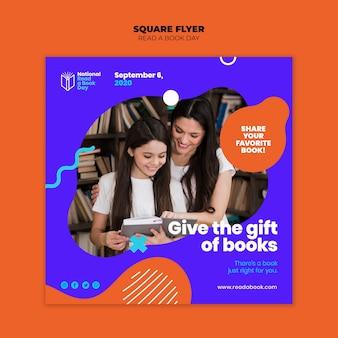 Flyer carré lire une journée de livre