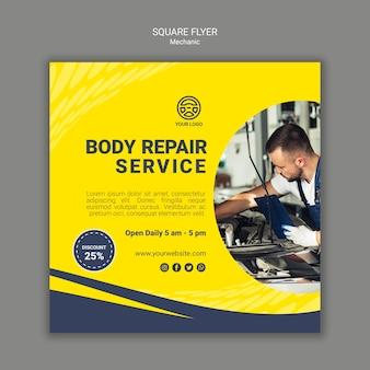 Flyer carré de mécanicien créatif avec photo