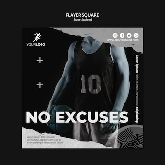Flyer carré de modèle de formation de basket-ball