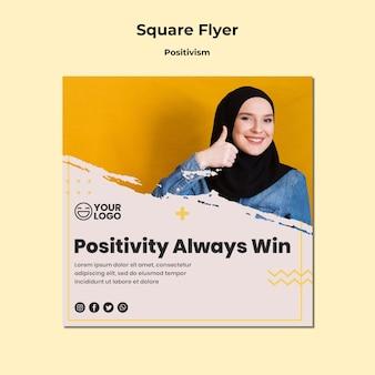 Flyer carré de modèle de positivisme