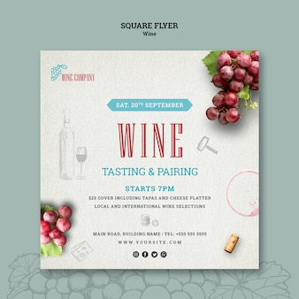 Flyer carré pour la dégustation de vin