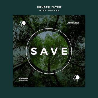 Flyer carré pour la nature sauvage