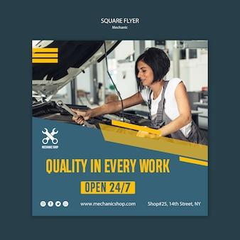Flyer carré pour la profession de mécanicien