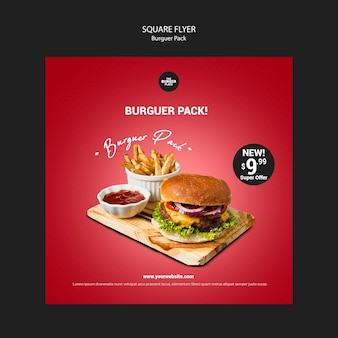Flyer carré pour restaurant burger