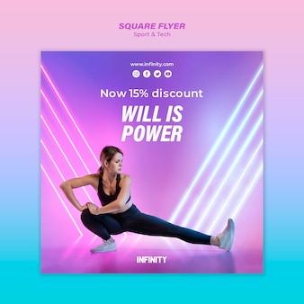 Flyer carré pour le sport et l'exercice