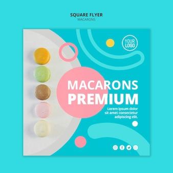 Flyer carré premium de savoureux macarons