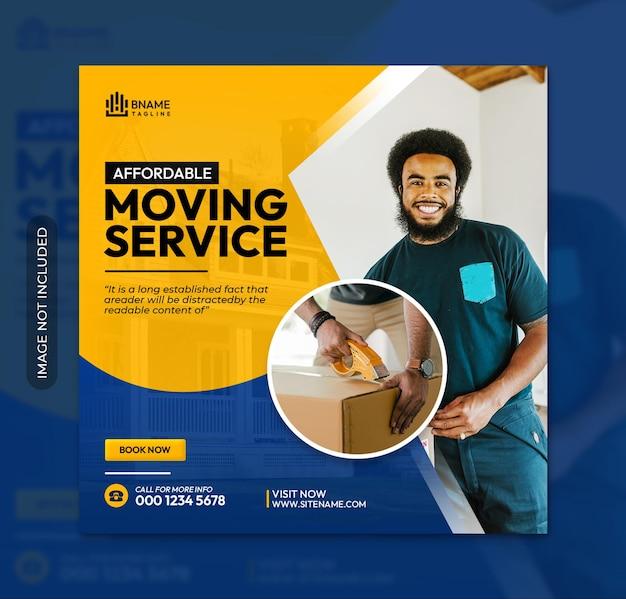 Flyer carré de service de déménagement ou modèle de publication sur les réseaux sociaux instagram