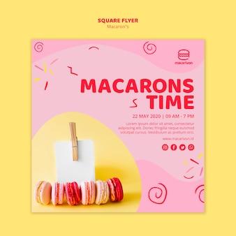 Flyer carré de temps de macarons
