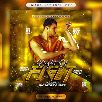 Flyer de combat de boxe ou modèle de bannière de médias sociaux