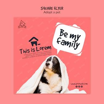 Flyer avec concept d'adoption pour animaux de compagnie