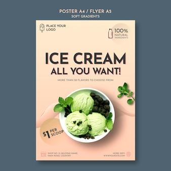 Flyer de crème glacée à gradient doux