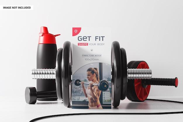 Flyer dl avec maquette d'accessoires de fitness