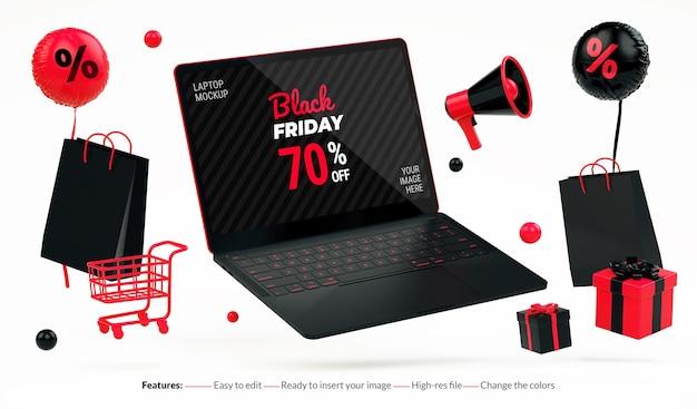 Flyer du black friday avec maquette d'ordinateur portable flottant et trucs rouges sur fond blanc