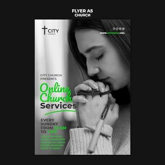 Flyer de l'église avec services en ligne