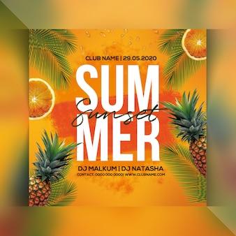 Flyer fête coucher de soleil d'été