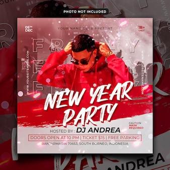 Flyer de fête du nouvel an publication sur les réseaux sociaux et bannière web