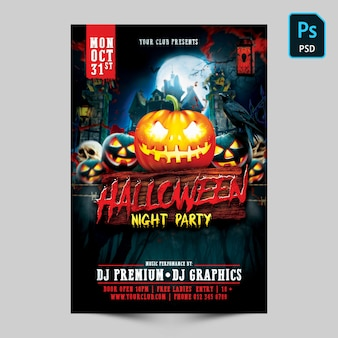 Flyer fête de nuit d'halloween
