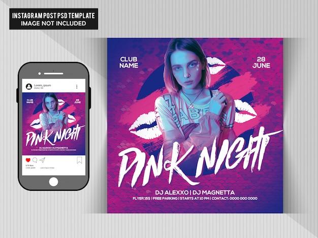 Flyer fête de nuit rose
