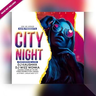 Flyer de fête de nuit de la ville