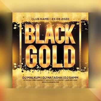 Flyer de fête en or noir