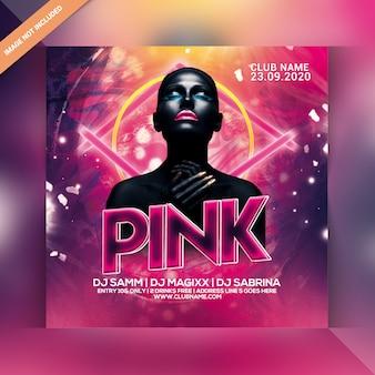 Flyer Fête Rose Nuit PSD Premium