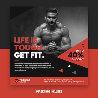 Flyer de fitness carré