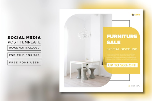 Flyer instagram plat pour modèle de poste de vente d'intérieur psd premium