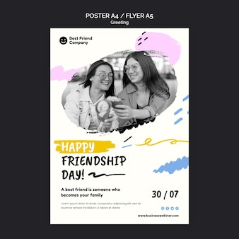 Flyer joyeux jour de l'amitié